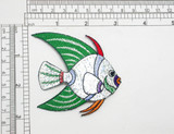 "Fish Holographic Marine Iron On Patch Applique  Embroidered on Holographic Backing   Measures 2 3/4"" High x 3 1/8"" wide Approximately"