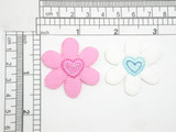 Felt Daisy with Heart Embroidered Iron On Applique *Colors*