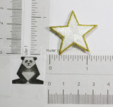 """Star 1 1/4"""" (31.75mm) White with Gold Border Embroidered Iron On Patch Applique"""
