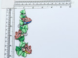 """Vine Leaves and Butterfly Iron On Embroidered Applique  Fully Embroidered Measures 5"""" high x 1 7/8"""" wide approximately"""