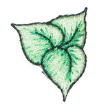 """Ivy Leaf Iron On Embroidered Applique  Fully Embroidered   Measures 1"""" high x 7/8"""" wide approximately"""