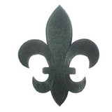 "Fleur De Lys Black Embroidered Iron On Patch Applique 5 7/8"" tall"