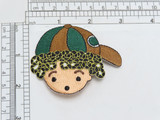 """Boy Wearing Hat Iron On Patch  Fully Embroidered with Rayon & Metallic Threads  Measures 2 1/4"""" high x 3"""" wide approximately"""