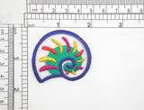 """Seashell Multi Embroidered Iron On Patch Applique   Fully Embroidered   Measures 1 3/4"""" high x 2"""" wide approximately"""