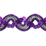 "Sequin Metalic Braid 5/8"" Purple & Silver 5 Yards"