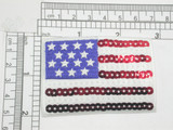 "USA Flag Stars & Stripes Sequinned Iron On Patch Applique  Embroidered on Sateen Backing with Rayon Threads and Red and White Sequin Detailing   Measures 2"" high x 2 7/8"" wide approximately"