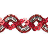 """Sequin Metalic Braid 5/8"""" Red & Silver 5 Yards"""