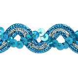 """Sequin Metalic Braid 5/8"""" Turquoise & Silver 5 Yards"""