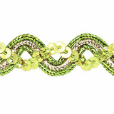 """Sequin Metalic Braid 5/8"""" Lime & Silver 5 Yards"""