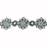 """Sheer Embroidered 2 1/4"""" Black & Silver Daisy Per Yard"""