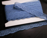"Flat Lace 1 3/16"" (30mm) Blue Floral Soft 35 Yards"