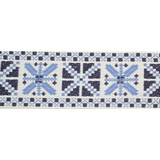 "Jacquard Ribbon 2 3/16"" (56mm) Geometric Blue Cotton Priced Per Yard"