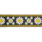 "Jacquard Ribbon 2 1/4"" (57mm) Daisy Pattern Yellow Priced Per Yard"