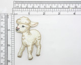 """Lamb Baby Sheep Iron On Applique  Fully Embroidered with Rayon Threads Measures 2 7/8"""" high x 1 5/8"""" wide approximately"""