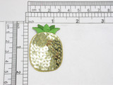 """Pineapple Sequin Applique Iron On  Embroidered on Sequin Backing with Rayon Threads  Measures 1 3/4"""" high x 1 1/4"""" wide approximately"""