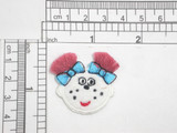 """Girls Face with Blue Bows Iron On Patch Applique  Embroidered on Felt Backing with Rayon Thread  Measures 1 1/2' high x 1 1/2"""" wide approximately"""