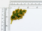 """Green Oak Leaf Iron On Applique Beaded  Embroidered on Velveteen Backing with Metallic thread and bead detailing   Measures 2 1/4""""high x 1 1/4"""" wide approximately"""