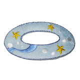 """Inflatable Ring Swimming Iron On Applique  Embroidered on Twill Backing   Measures 1 1/4"""" high x 2 1/2"""" wide approximately"""