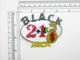 Black Jack Patch Gaming Embroidered & Sequin Iron On Applique