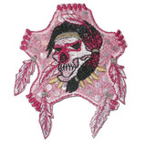 Skull with Feather Pink
