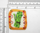 "Asparagus Abstract Iron On Patch Applique   Measures 2"" high x 2"" wide approximately"