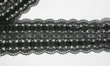 """Venise Lace 3 3/8"""" (85.7mm) Galloon with Insertion Soft Black Per Yard"""