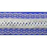"""Fancy Lace with Ribbon 2 1/2"""" White Per Yard"""