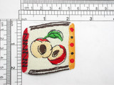 "Apple Country Food Abstract Iron On Patch Applique     Measures 2"" high x 2"" wide approximately"
