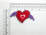 Heart with Purple Wings Embroidered Iron On Applique