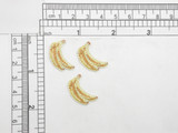 "3 x Banana Mini Sparkle Iron On appliques  Embroidered on Opalescent Backing with Rayon Threads  Measures 3/4"" high x 1/2"" wide approximately"