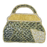 Faux Snakeskin Bag Yellow Trim