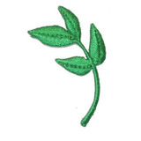 """Olive Leaf Branch Iron On Applique  Fully Embroidered on Rayon and Metallic Threads  Measures 1 3/4"""" high x 3/4"""" wide approximately"""