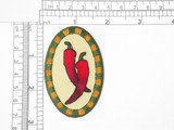 "Country Chili Pepper Patch Iron On Patch Applique  embroidered on  tan twill Backing Measures 2 5/8"" high x 1 3/4"" wide"