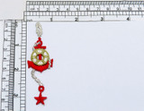 Anchor with Rope and Life preserver Silver/Red/Gold