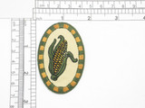 "Country Corn Patch Iron On Patch Applique  embroidered on  tan twill Backing Measures 2 5/8"" high x 1 3/4"" wide"