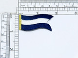"""Nautical Flag Blue & White Juliet J Iron On Patch Fully Embroidered Measures 3/4"""" high x 1 1/4"""" wide approximately"""