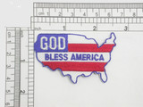 "God Bless America Embroidered Iron On Patch Applique  Embroidered on White Backing  Measures 2 1/2"" high x 2 1/2"" wide approximately"
