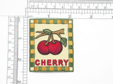 "Cherry Patch Country Style Iron On Patch Applique   Embroidered on Twill Backing with Rayon Threads  Measures 2 5/8"" high x 2"" wide approximately"