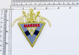 """Marine Triangle Nautical Iron On Applique  Embroidered on a Twill Backing with Metallic and Rayon Threads  Measures 3 1/2"""" high x 3"""" wide approximately"""