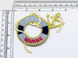 """Marine Life Preserver Iron On Applique  Embroidered on Twill Backing with Rayon and Metallic Threads  Measures 3"""" high x 3 1/2"""" wide approximately"""