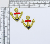 """2 Gold Anchor Iron On Appliques  Fully Embroidered  Measures 1 1/2"""" high x 1"""" wide approximately"""