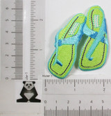 """Green Flip Flops Iron On Applique  Fully Embroidered with Rayon Threads  Measures 2 1/2"""" high x 2"""" wide approximately"""