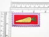 "Carrot Country Style Iron On Applique  Fully Embroidered with Rayon Threads  Measures 2 1/2"" high x 1 1/4"" wide approximately"