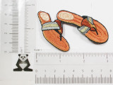 """Brown Flip Flops Iron On Applique  Fully Embroidered with Rayon and Metallic Threads  Measures 2 3/4"""" high x 2 3/4"""" wide approximately"""
