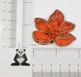 Brocade Flower with Beads RUST