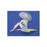 """Sunbathing Lady Iron On Applique  Fully Embroidered   Measures 2 1/4"""" high x 3"""" wide approximately"""