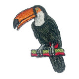 """Toucan Iron On Patch Applique  Fully Embroidered   Measures 1"""" across x 1 5/8"""" high approx"""