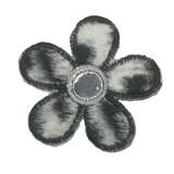 Black and White Furry Mirror Daisy with Gray Mirror Border