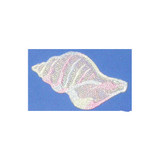 """Seashell Pastel Sparkle Iron On Applique  Embroidered on Opalescent Backing with Rayon Threads  Measures 1 3/4"""" high x 3"""" wide approximately"""