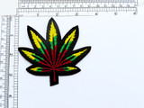 """Marijuana Leaf Iron On Patch Red Gold Green   Measures 3 1/4 high x 3 1/2"""" wide approximately"""